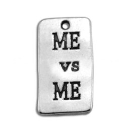 Dog Plates NZ - Anitque Silver Plated Me Vs Me Message Pendant Charms Alloy Hot Dog Tag Letter Charms 50pcs AAC589