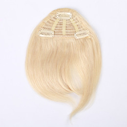 Wholesale 3 Clips pcs 7 Inch Black Brown Bonde Color Combination Human Hair Extension Fringe Hair Clips in Easy Apply Human Hair Bangs
