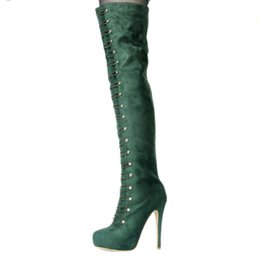024913e0178a Kolnoo Womens Handmade Fashion Boots High Heel Platform Round-toe Long Thigh -high Boots Winter Party Prom Large Size Boots Shoes XD722