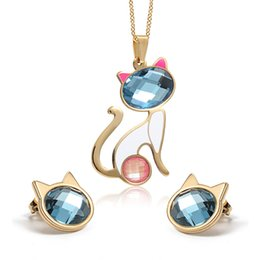 Discount mix colors stones necklace - High Quality Unique design women's Gifts mixed color cat Stainless Steel luxury opals stone Necklace Pendant & Earr