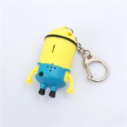Yeux Méprisables Pas Cher-Small Minions Cartoon Keychain décevante moi 3D Eyes Two Eyes One Eye Figure Jouets enfants Keychain LED Night Light Flashlight Torch Kid Gift