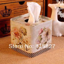 Paper Roll Holders Australia - Wholesale- Free Shipping!Europe style Iron Facial paper case Flower design Tissue Box Metal square Napkin Holder Flower Bottle