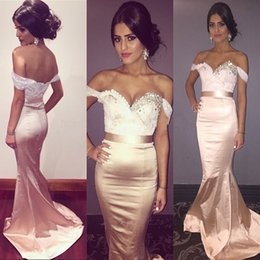 6fa8c9cd372 Long Bridesmaid Dresses Off Shoulder Mermaid Prom Dresses 2016 Beaded  Sequins Sweetheart Neckline Wedding Party Dress Formal Evening Gown