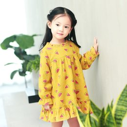 Chicas Dulces Coreanas Baratos-Everweekend Sweet Kids Girls Print Fruit Sandía Cute Baby Girls Dress Korean Fashion Ruffles Vestido encantador del invierno