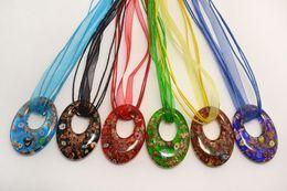 China wholesale 6pcs handmade mix color Italian venetian Transparent Round Millefiori Lampwork murano glass pendant 3+1 silk necklaces nl0177m*6 suppliers