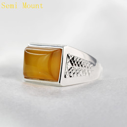 $enCountryForm.capitalKeyWord Canada - 925 Sterling Silver Engagement Wedding Men Ring Semi Mount Ring for 10x14mm 11x15mm Princess Cabochon Amber Lapis Lazuli DIY Stone Setting