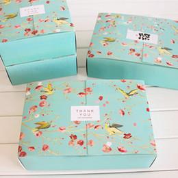 Il trasporto libero 20 PZ grande blu fiore uccelli decorazione panetteria pacchetto dessert caramelle biscotto torta scatola di imballaggio scatole regalo fornitura favori