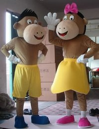 Costumes De Costumes De Couple Pas Cher-Factory Outlets Brand New pantalons courts jaunes Couple Monkey Halloween Costume Fantaisie Costume Cartoon Animal Mascot Costume Livraison gratuite