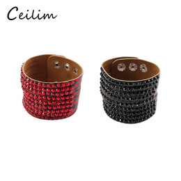 fashion personalized leather bracelet Canada - Fashion casual personalized rhinestone wide leather bracelets bangles wrap adjustable bracelet wristbands for women snap button Jewelry