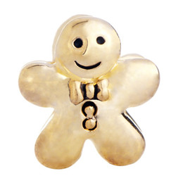 gingerbread cookies wholesale UK - China Factory Gold Plated Gingerbread Man Cookie Metal Slider Bead Big Hole European Spacer Charms Fit Pandora Chamilia Biagi Charm Bracelet