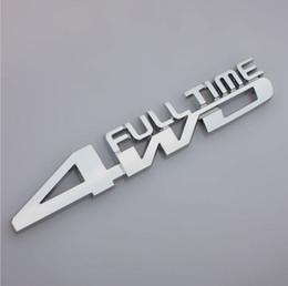 Chrome Auto Emblem Decal Canada - Car Metal Chrome 3D 4WD Full time Displacement metal Chrome Emblem Badge truck auto motor Gule sticker decal accessories