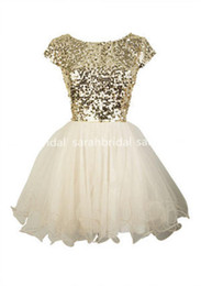Barato Vestidos De Clube-2016 Cheap Under 100 Cute Gold Sequins Short Homecoming Vestidos Evening Cocktail Vestidos Little White Marfim Tulle 8th Grade Dance Dresses