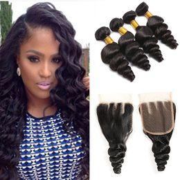 $enCountryForm.capitalKeyWord NZ - Queen Hair Malaysian Virgin Hair With Closure 4PCS Lot Closure With Bundles Malaysian Loose Wave +Lace Closure Human Hair Weave Extensions