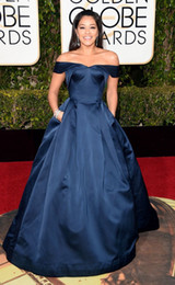 Wholesale gina resale online - 2016 Fashion Gina Rodriguez Celebrity Evening Dresses Golden Globe Award Off Shoulder Satin Designer Party Red Carpet Ball Gown