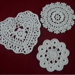 $enCountryForm.capitalKeyWord NZ - wholesale handmade Crocheted Doilies White lace cup mat vase Pad, Heart Round coaster 3 Design 10-16 cm table mat 30PCS LOT tmh3140