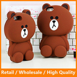 Cute Brown Bear Canada - 2016 Newest Lovely 3D Cute Soft Silicone Brown Bear Back Cover Case Mobile Phone Protector for iPhone5 5s 6 6s 6Plus 6sPlus