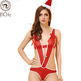 $enCountryForm.capitalKeyWord NZ - Leechee Y112 Women Sexy Lingerie Red Garter Hot Christmas Costume Bow Temptation Erotic Underwear Porn Teddy bodysuit