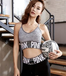 Long sports bras online shopping - Love Pink Letter Tracksuit Sports Yoga Fintess Suit bandlet Stripped Bra and Leggings Running Sports Long Pants vest bra set