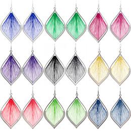 $enCountryForm.capitalKeyWord UK - Thread Earrings Leaf 9 Colors Wholesale Lots Hook Cute Charm Dangle Handcraft Women Girl Eardrop ( Blue Green Red Purple Black Gold )(JT007)