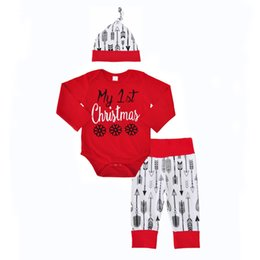 Wholesale Ins Christmas Baby clothing Outfits Long sleeve Red Letters Snows Arrow Romper Long sleeve Pant hat set Cotton Autumn Fall