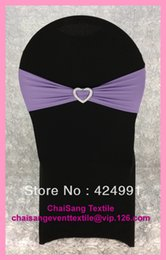 heart shaped chairs NZ - 100pcs Lavender Lycra Chair Bands&Sash with Heart Shape buckle ,Double Layer Lycra Bands&Sash for Weddings Events Decoration