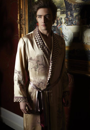 Animal Handmade Canada - Exquisite Handmade Embroidery On Robe NWT Luxury Pure 19MM Silk Men Sleepwear Embroidered Kimono Robe Size L XL XXL