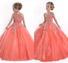 Discount kids yellow ball dress - 2019 Peach Girls Pageant Dresses for Teens Cute Cupcake Tulle Floor Length Dresses For Kids Formal Long Beaded Pageant G