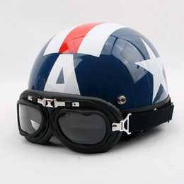 Xl Capitaine America Casque Pas Cher-Gros-KK # 98 Cyclisme Vintage Half Visage Captain America Motocycle Matt Blue
