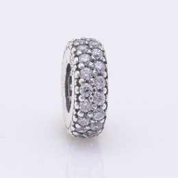 Fits Pandora Fits Pandora Charms Bracelet 925 Sterling Silver Pave Clear Zircon Spacer Beads Charm DIY Jewelry Free Shipping on Sale