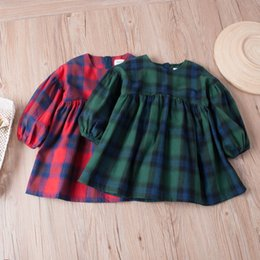 Tutúes Verdes De Las Muchachas Baratos-Everweekend Kids Girls Vintage Western Fashion Red Green Color Plaid Dress Niños Linterna Mangas Dulce Vestido