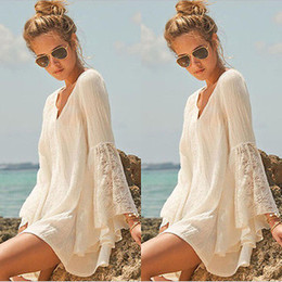 Long hippie summer dresses online shopping - Women Vintage Hippie Boho Bell Sleeves Gypsy Festival Holiday Lace Mini Dress