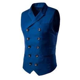 Barato Casacos Pretos Sem Mangas-Moda Slim Fit Double Breasted Men Suit Vest Casaco Empresarial Formal Casaco sem mangas Preto Azul M-3XL