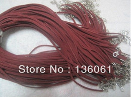 $enCountryForm.capitalKeyWord Canada - Wine Red 100PCS Suede Leather Choker Collar Lobster Clasp 2mm Cord Necklaces Pendants For Women Dress Jewelry Findings Accessories Z2882