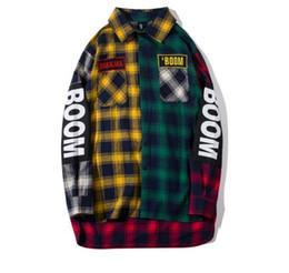 $enCountryForm.capitalKeyWord UK - Color Block Patchwork Plaid Long Sleeve sup Shirts Men Hip Hop kanye west Casual Pocket Button Up Shirts Coats Streetwear