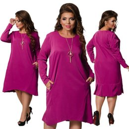 Wholesale High quality Spring Autumn PLUS SIZE dress XL L Women s long sleeve elegant Bodycon dress Fashion loose Dress