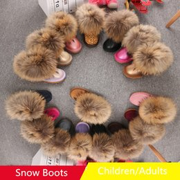 Barato Sapatas Mornas Da Pele Dos Miúdos-Austrália Classic Snow Boots Kids Women Family Botas de neve Winter Fox Fur Leather Warm Cotton Shoes Frete Grátis 596