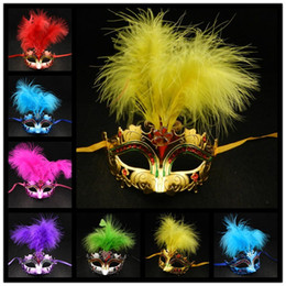 $enCountryForm.capitalKeyWord Canada - On Sale Feather Mask Gold Plating venetian masquerade party Mask Novelty Party decoration carnival mardi gras Halloween costume