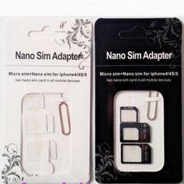 Discount iphone mobile device - NOOSY Nano Micro Sim Standard Card Convertion Converter4 in 1 Nano Sim Adapter Micro sim Card For Iphone 6 Plus All Mobi
