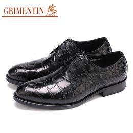 Grimentin Shoes UK - GRIMENTIN Fashion Designer Mens Dress Shoes Genuine Leather Crocodile Grain Mens Oxford Shoes Hot Sale Formal Business Office Male Shoes H10