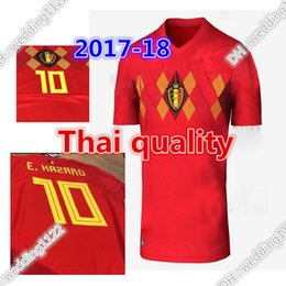 Belgium 2018 World Cup Home red top Thailand Quality LUKAKU FELLAINI  E.HAZARD KOMPANY DE BRUYNE Soccer Jersey 18 19 Belgium football shirt ... 19bf3bb0f