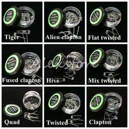 Alambre trenzado plano Bobinas fundidas de clapton Alambres de la envoltura prefabricados Alien Mix retorcidos Quad Tiger 9 Diferentes resistencias de calentamiento 10pcs / caja para Ecig en venta