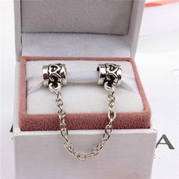 Catena di sicurezza del cuore Monili delle donne di modo 925 placcato argento bello per il braccialetto di fascino del branello di Pandora stile europeo 006 in Offerta