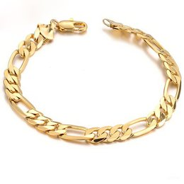 Großhandel Klassische Herren 18K Gold vergoldet Figaro Kette Armband 21cm