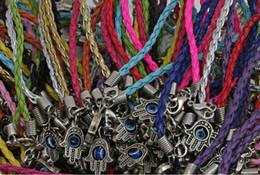 Vintage Silvers Evil Eye Kabbalah Hand Armbänder Weave Leder Charms Glück Rot Seil Armband Armreifen Für Damenmode Schmuck 50 stücke