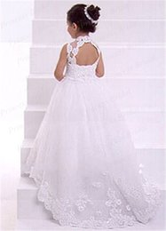 prices purple wedding dresses UK - Hot Sale Wholesale Price Toddler Dress Ball Gown High Neck Floor Length Tulle Flower Girl Dress With Appliques FG038