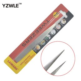 Barato Pinças Para Cílios-Atacado - YZWLE 1Pc Stainless Steel Straight Tweezers Stainless Steel Tweezers For Nail Art Nippers Eyelash Extensions