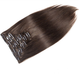 natural human hair clip extensions UK - Malaysian Dark Brown Color 2# Straight Human Hair Clip In Hair Extensions Unprocessed Beauty Weaves 10 Pcs Lot 100g lot