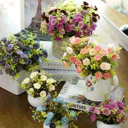 White Rose Arrangements Canada - New Artificial Rose Flower Arrangement Fake Silk Flower Leaf Home Wedding Decor Silk Craft Bridal Bouquet
