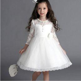 $enCountryForm.capitalKeyWord Canada - 2015 New Flower Girl Dress with Bow Sleeve Wedding Party Dress Communion Gown Pageant Dress for Little Girls Kids Children Dress