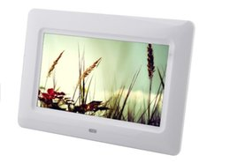 Discount video photo frame - 7 inch TFT LCD Wide Screen Desktop Digital Photo Frame glass Photo Frame white 1pcs